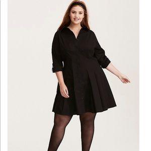 52c6d3c58a2 torrid Dresses - NWT Torrid Black Poplin Fluted Shirt Dress Plus